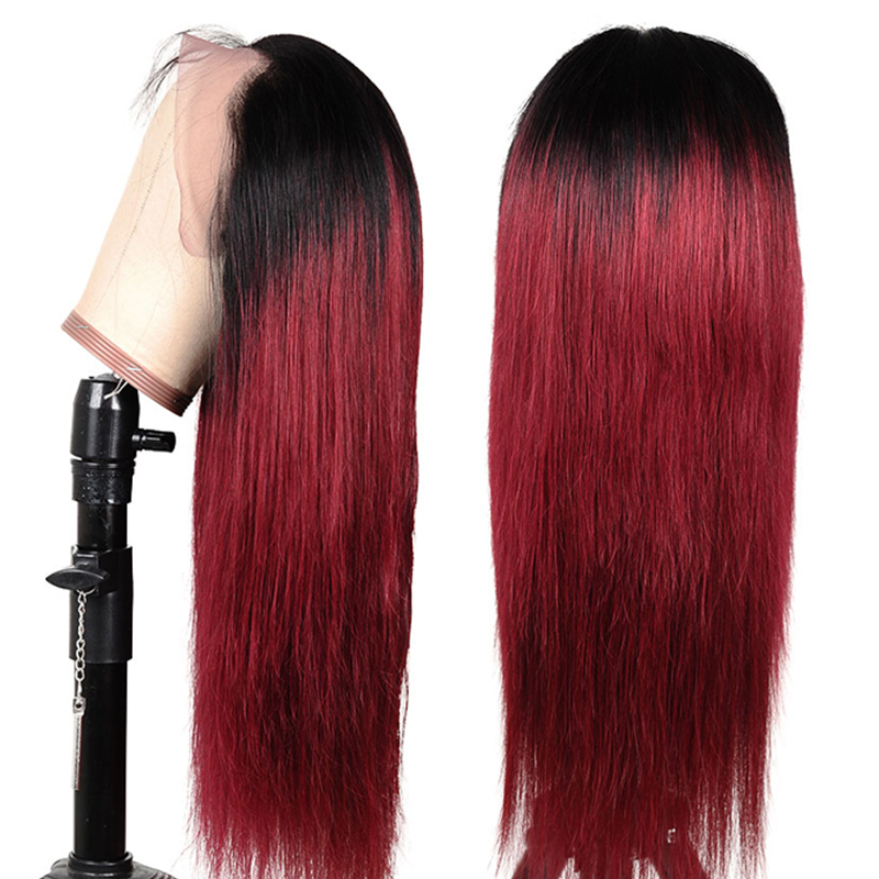 13x4 1B 99J Red Colored Lace Front Human Hair Wigs Ombre Burgundy 150 % Peruvian Remy Lace Front Wigs Straight Human Hair Wigs