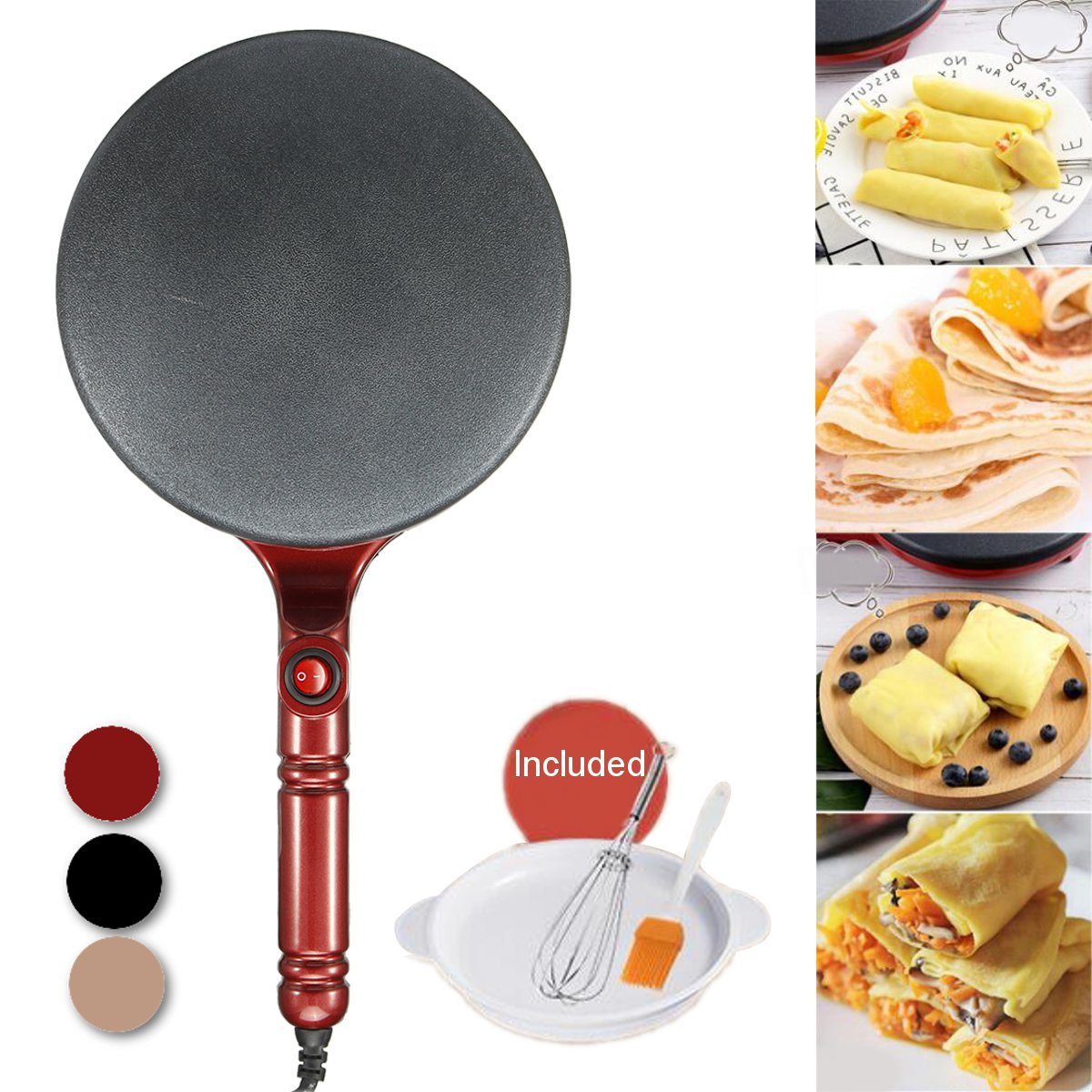 21cm <font><b>Electric</b></font> Crepe Maker Non Stick <font><b>Baking</b></font> Pancake <font><b>Pan</b></font> Frying Griddle Machine Tray Beater Set Kitchen Cooking Tools 220V 700W image