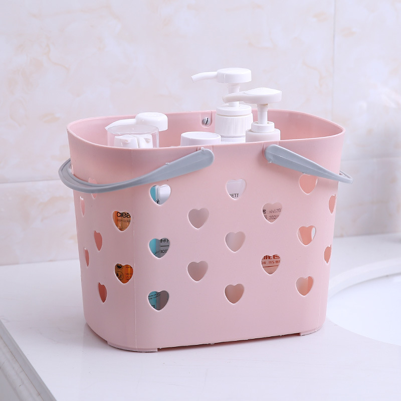 The New Folding Bath Basket Color The Shower Basket Household Multi-function Receive Basket To Hollow Out Store Content Box