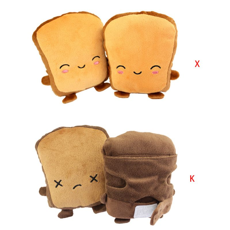 Women Girls Cute Toast Bread Embroidery Face Hand Warmer USB Heating Half Finger Gloves Adjustable Winter Thick Plush Fignerless