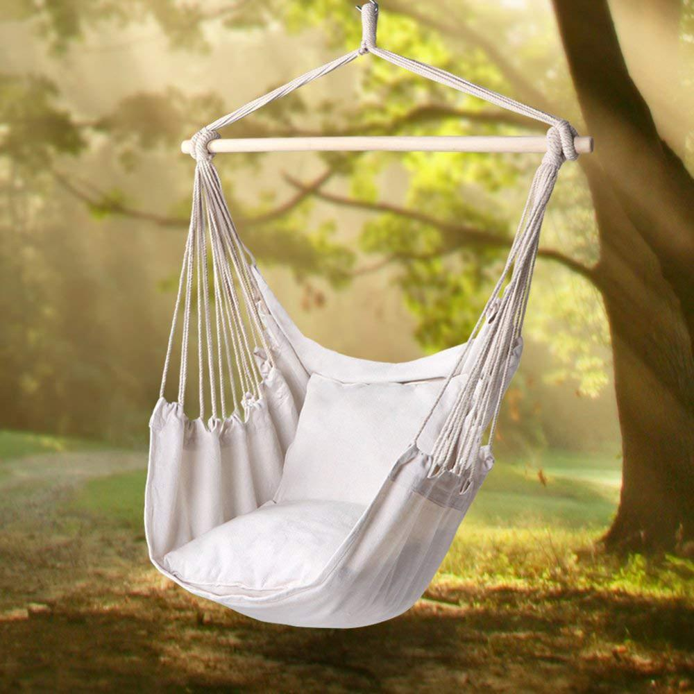 Garden Hammock Hanging Chair Swinging Indoor Outdoor Furniture Canvas Dormitory Swing With 2 Pillows Hammock