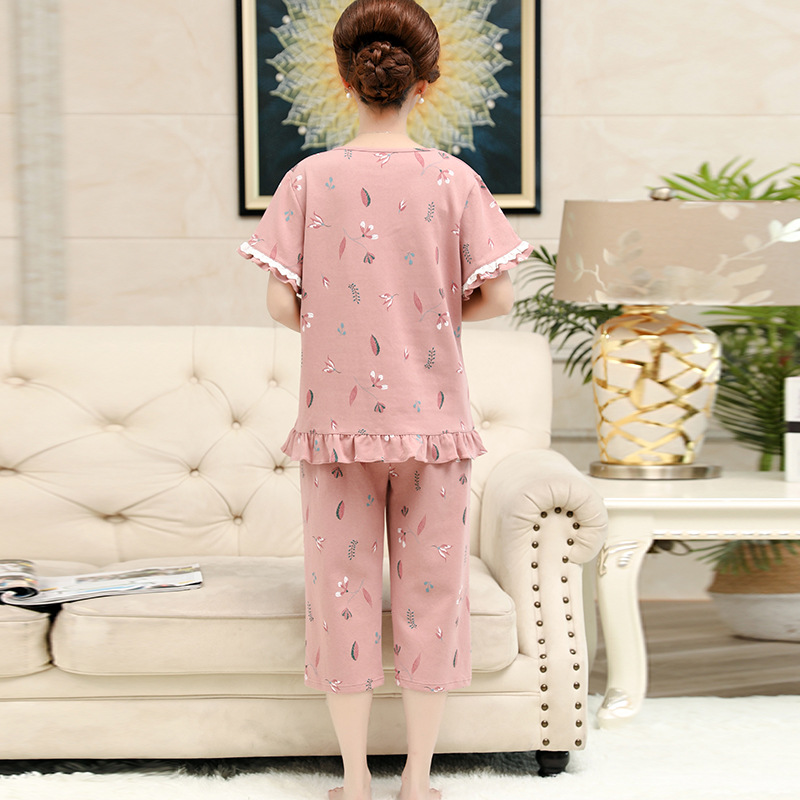 Peach Scent Middle-aged Mom Pajamas Women's Spring And Autumn Pure Cotton Long Sleeve Middle Aged And Elderly People Women Cotto