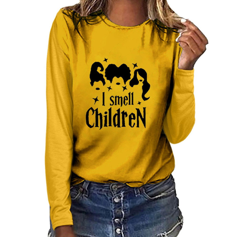 Women Fashion Plus Size Print Round Neck Long Sleeved T-shirt Tops Customized #4S23 (17)