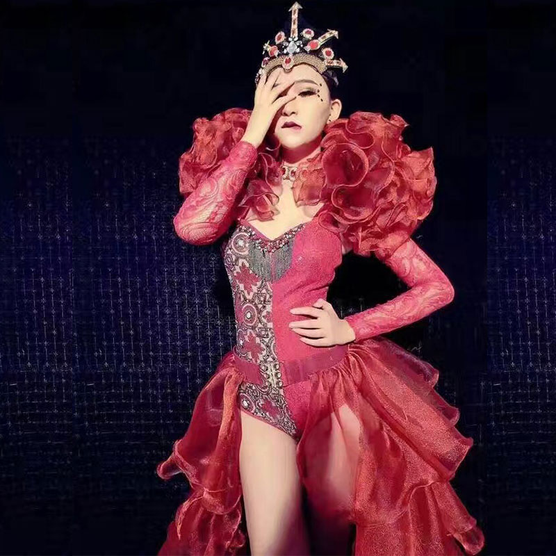 Red Big Tailing Stage Costume Set Bodysuit Jacket Headwear 4-piece Nightclub DJ Singer Stage Costume Dance Performance Wear