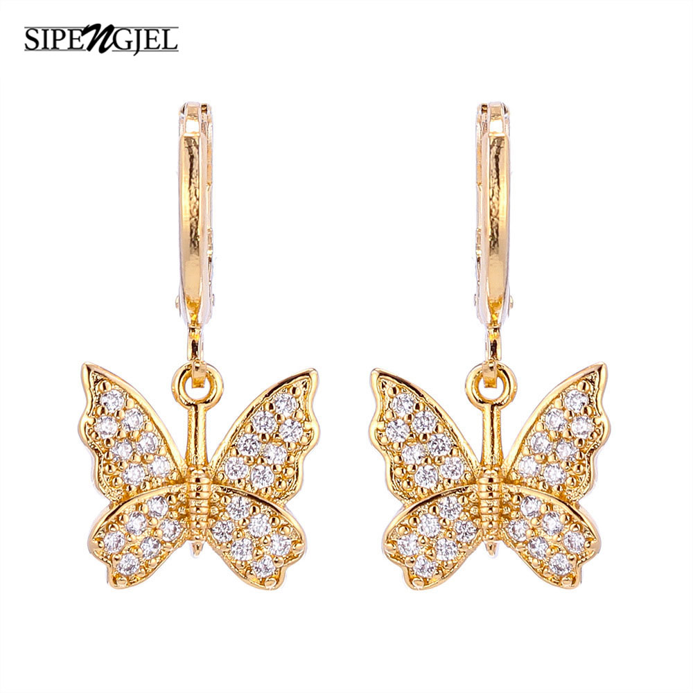 Tiny Clssic Cute Butterfly Gold Hoop Earrings Luxury Design korean charm Butterfly...