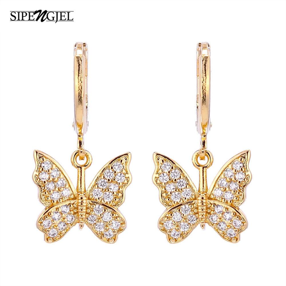Крошечные Clssic милые золотые серьги-кольца с бабочками роскошный дизайн корейские очаровательные серьги-бабочки женская модная бижутерия ...