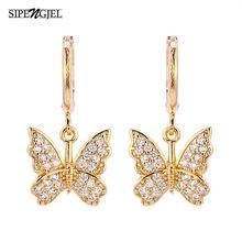 Minúsculos clssic bonito borboleta brincos de argola de ouro design de luxo coreano charme brincos de borboleta para a moda feminina jóias 2021