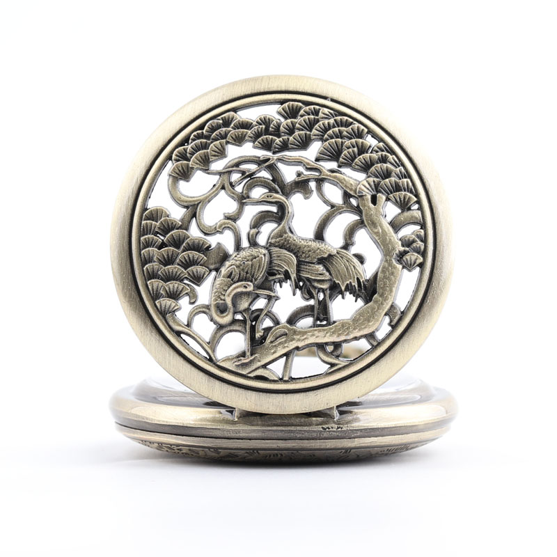 Pocket & Fob Watches Chinese Style Birds Hollow Out Quartz Pocket Watch Necklace Pendan  Women/Mens  Pendant Watch Gift