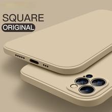 Luxury Original Square Liquid Silicone Case For iPhone 12 11 Pro Max Mini X XR XS Max 7 8 6s Plus SE 2020 Shockproof Soft Cover