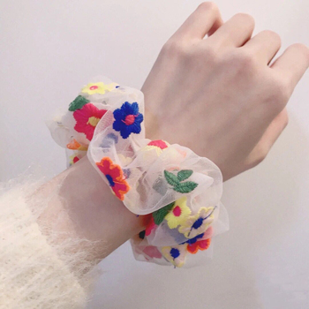 Rubber Band Rope Elastic Girls Scrunchies Ponytail Holder Leaf Embroidery Floral Thin Mesh Hair Rope Hair Bands Ties Accessories bowknot floral hair scrunchies rope women ponytail holder bows elastic hair bands crunchy hair ties scrunchie hair accessories