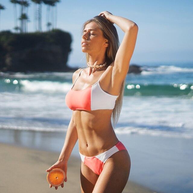 Conjunto de Bikini de cintura baja para mujer, ropa de baño Sexy sin mangas, bañador de dos piezas 6