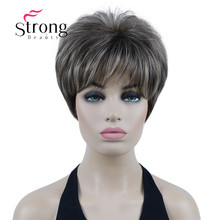 StrongBeauty Short Layered Brown Shag Classic Cap Full Synthetic Wig COLOUR CHOICES