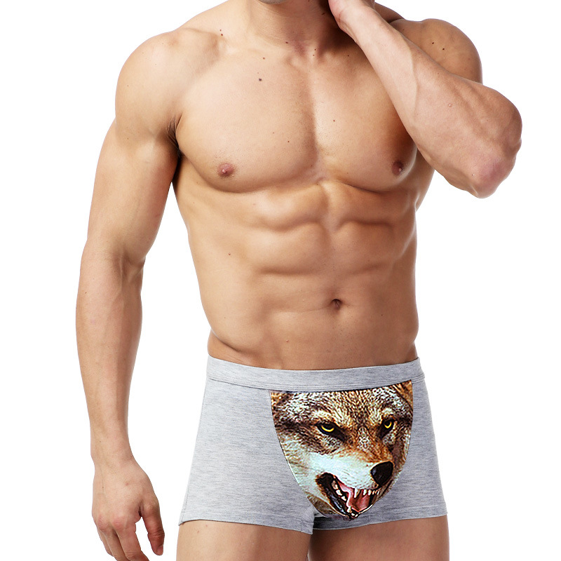Wolf Underwear Men Cotton Funny Men's Boxer Shorts Pouch Bulge Sexy Boxershorts Breathable Spandex Mens Boxers Brand Panties
