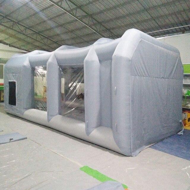 Tente mobile gonflable gris clair sans poussière salle de peinture verte et transparente avec crépine pour véhicules