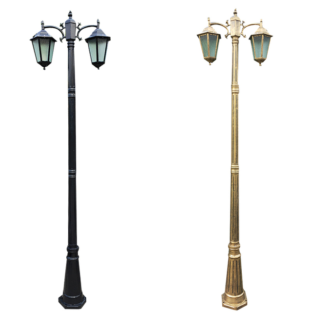 (H≈ 2.5M) אירופאי מעובה מנורת מוט שני למות יצוק אלומיניום אורות גן כביש תאורת תאורה