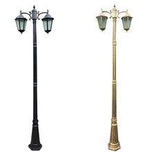 (Hfairy 2.5M) poteau de lampe épaissi européen deux lumières de jardin en aluminium moulé sous pression éclairage de route de jardin extérieur