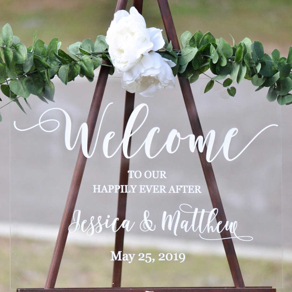 Welcome To Our Happily Ever After Wedding Sign Stickers Custom Welcome Vinyl Decals For Board Mirror Modern Wedding Decor G647 Wall Stickers Aliexpress