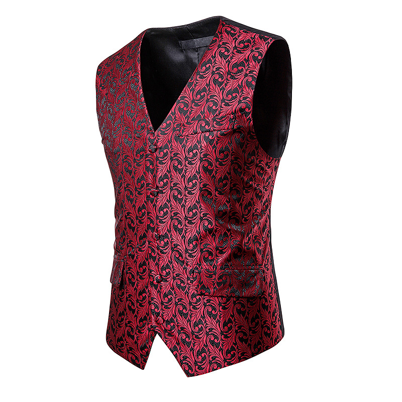 Suit Vest Waistcoat Wedding-Dress Men's Casual Business Man Floral-Printed Gentleman
