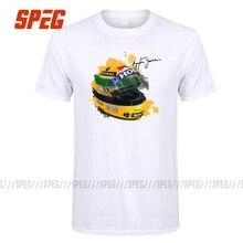 Ayrton Senna Helm T-Shirt Tops 1 Rennen Auto Aquarell Männer 100% Baumwolle Kurzarm T Hemd Unterschrift Mann T Shirt