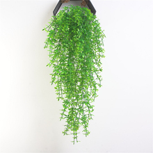 1PC 5 Fork Artificial Green Plant Vines Wall Hanging Fake Leaves Plant for Home Garden Bar Decoration Simulation Leaves Rattan
