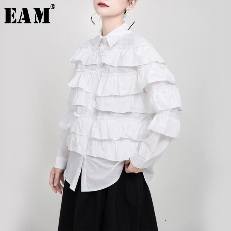[EAM] Women White Lalyers Ruffles Split Blouse New Lapel Long Sleeve Loose Fit Shirt Fashion Tide Spring Autumn 2020 1N209