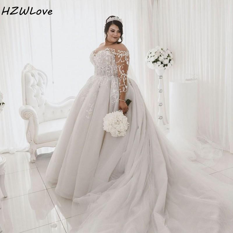 African Plus Size Wedding Dresses With Sheer Neck Illusion Full Sleeves Bridal Dress Tulle Lace Up Custom Wedding Robe De Mariee