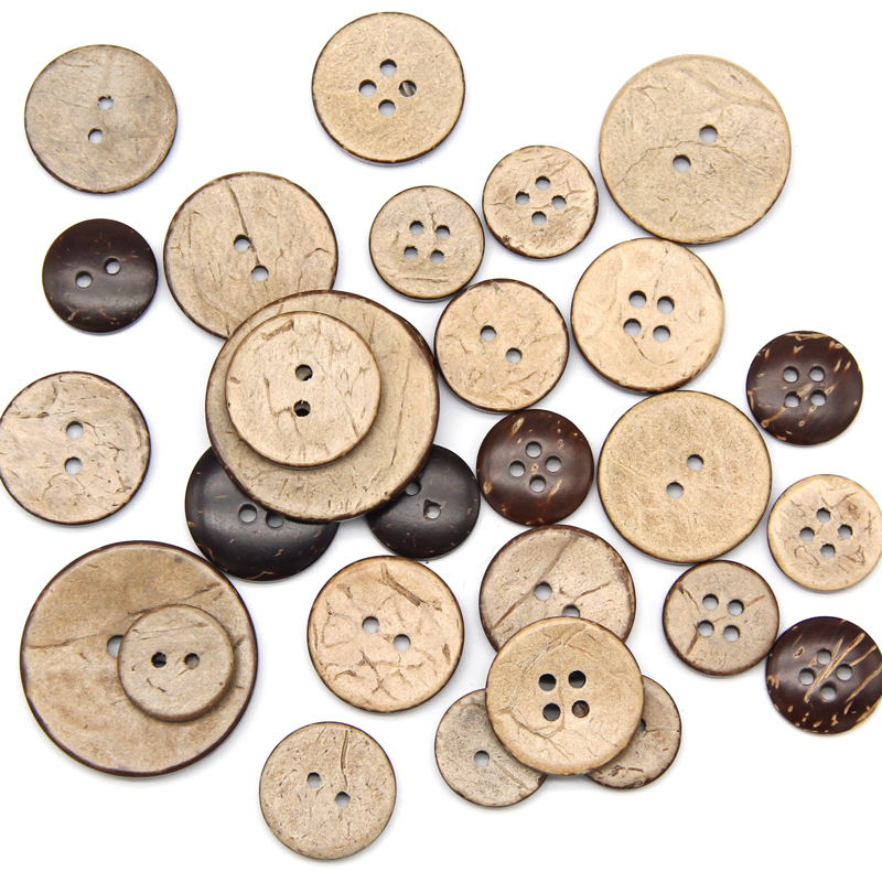 Precise Natural Eco-friendly Coconut Shell Wood Button For Clothing 2/4 Holes Children Scrapbook Decorative Sewing Accessories Wholesale High Quality Materials