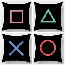 Black Art Design Playstation Buttons Throw Pillow Case Novelty Gaming Decorative Cushion Cover Cool Game Gamer