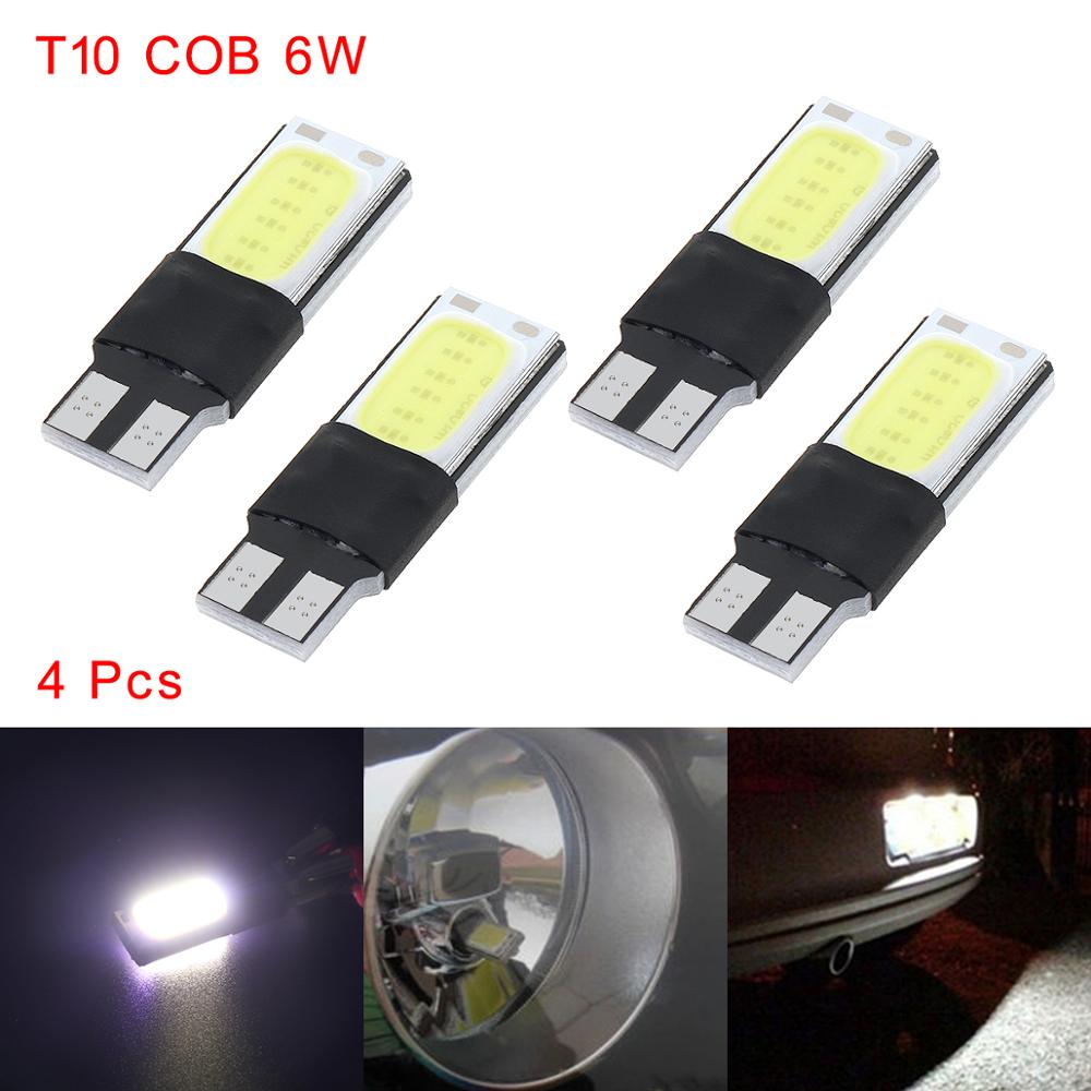 4pcs T10 COB Car LED Light T10 W5W 194 168 2825 12961 White LED 6W No Error COB Canbus Side Lamp Wedge Light Bulb For Car Auto