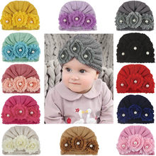 Children's wool hair accessories bonnet set a solid color wool cap Newborn Baby Boys Girls Knitted Bead Hat Beanie Crochet Cap(China)