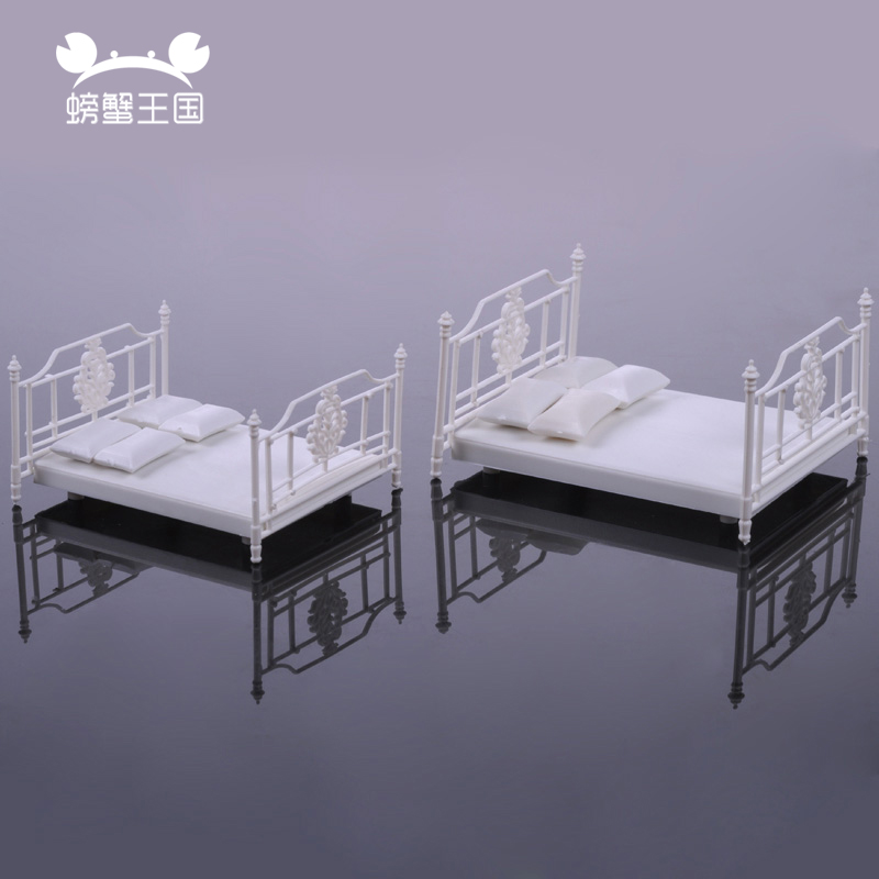 2pcs 1/20 1/25 1/30 Scale Dollhouse Double Bed Model Mini Furniture Miniature Model Building Material