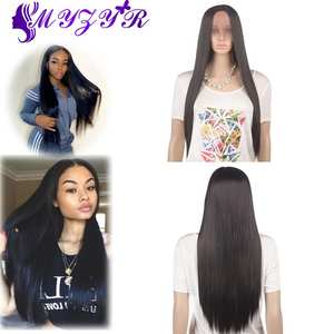 ZYR Wig Long-Wigs Lace-Front Middle-Parting Synthetic High-Temperature-Fiber Straight