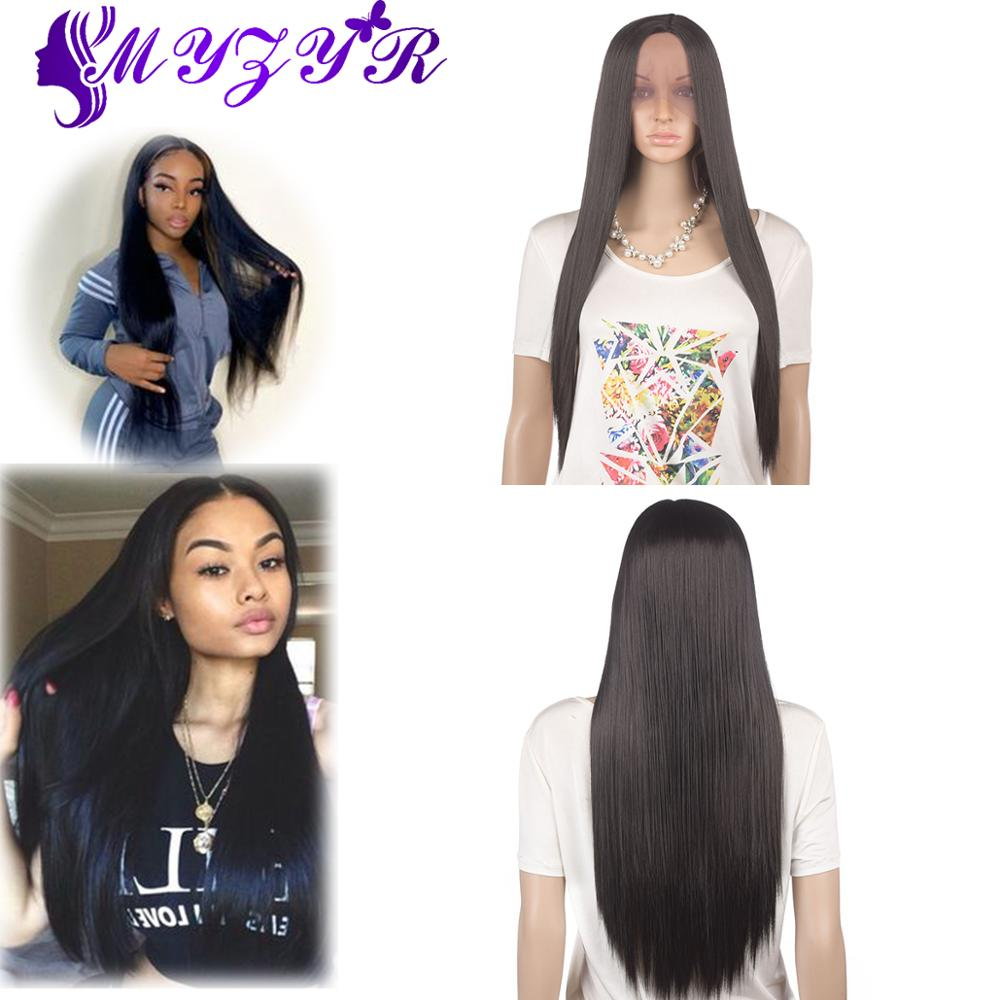 ZYR Long Straight Lace Front Wig Middle Parting Hand Tied Synthetic Lace Front Wig High Temperature Fiber For Women Long Wigs