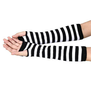 Knitted-Gloves Hand-Warmer Wrist-Arm Stripe Black White Winter Women Long for Splicing-Color