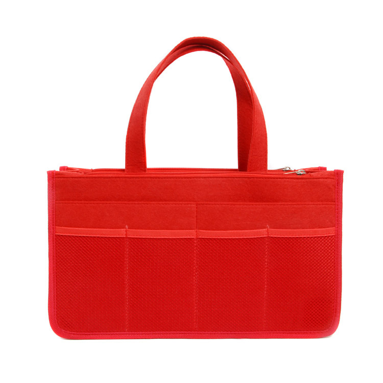 Wj-storage002 Felt Cloth Diaper Bag Multi-Compartment Storage Double Zipper Bag 34x19. 5x10cm