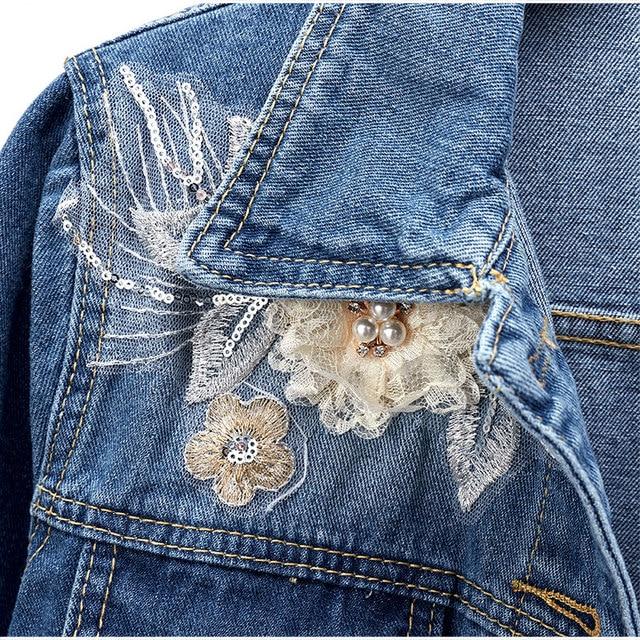 Plus Size Women 3D Floral Embroidery Pearl Bead Short Denim Coat 4XL 5XL Female Slim Fit Beading Bomber Jean Jacket Tops Outwear