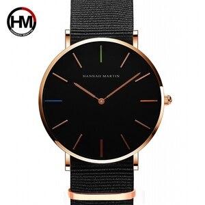 Японский кварцевый механизм для мужчин и женщин унисекс простые часы Топ бренд Роскошные ювелирные изделия водонепроницаемые черные нейло...
