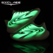 Sxclaee Fluorescent Men's Casual Shoes Breathable Mesh + Stretch Fabric Sneakers Deodorant Sweat-absorbent Sports Shoes Size 44