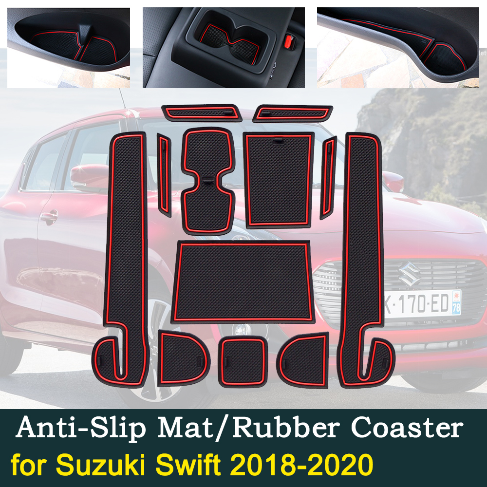 Anti-slip Door Rubber Cup Cushion Mats for <font><b>Suzuki</b></font> <font><b>Swift</b></font> A2L <font><b>2018</b></font>~2020 2019 Sport DZire Groove Mat Car Interior <font><b>Accessories</b></font> image