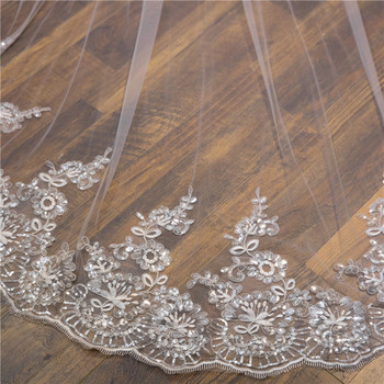 White Ivory wedding veil 108W x157L (4 meter) Cathedral Wedding Veils Long Lace Edge Bridal Veil with Comb Wedding Accessories 2019 new white ivory cathedral wedding veils voile mariage 3 meter long applique edge bridal veil with comb wedding accessories