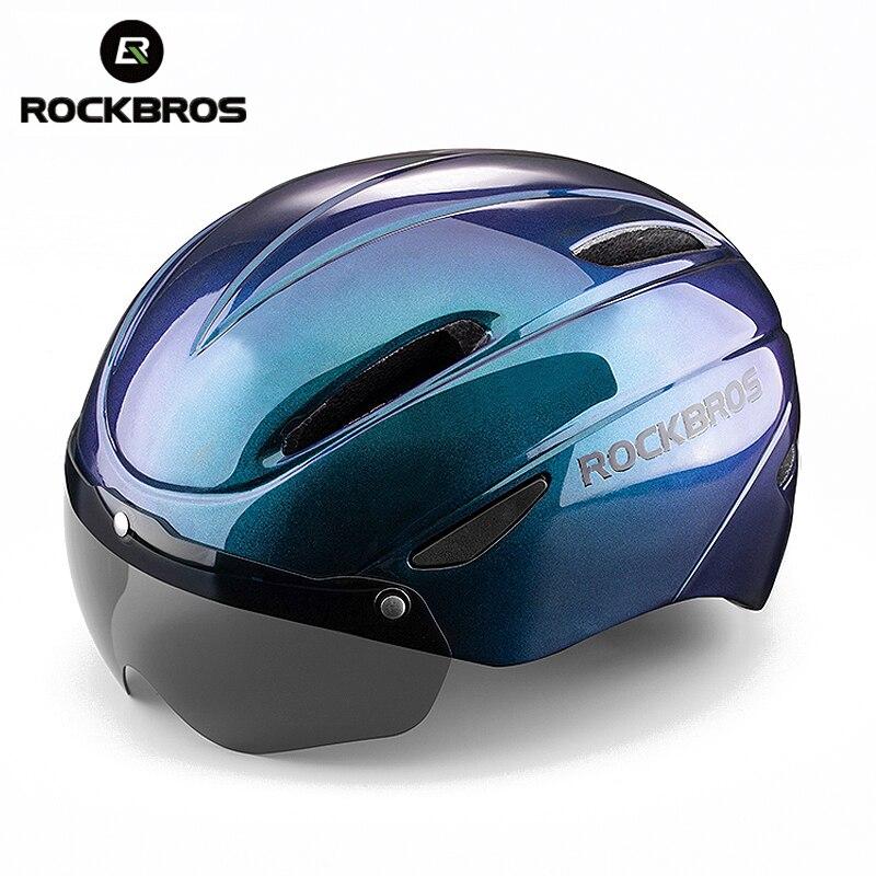 ROCKBROS Bicycle Helmet EPS Integrally-molded Breathable Cycling Helmet Men Women Goggles Lens MTB Road Bike Helmet Accessories