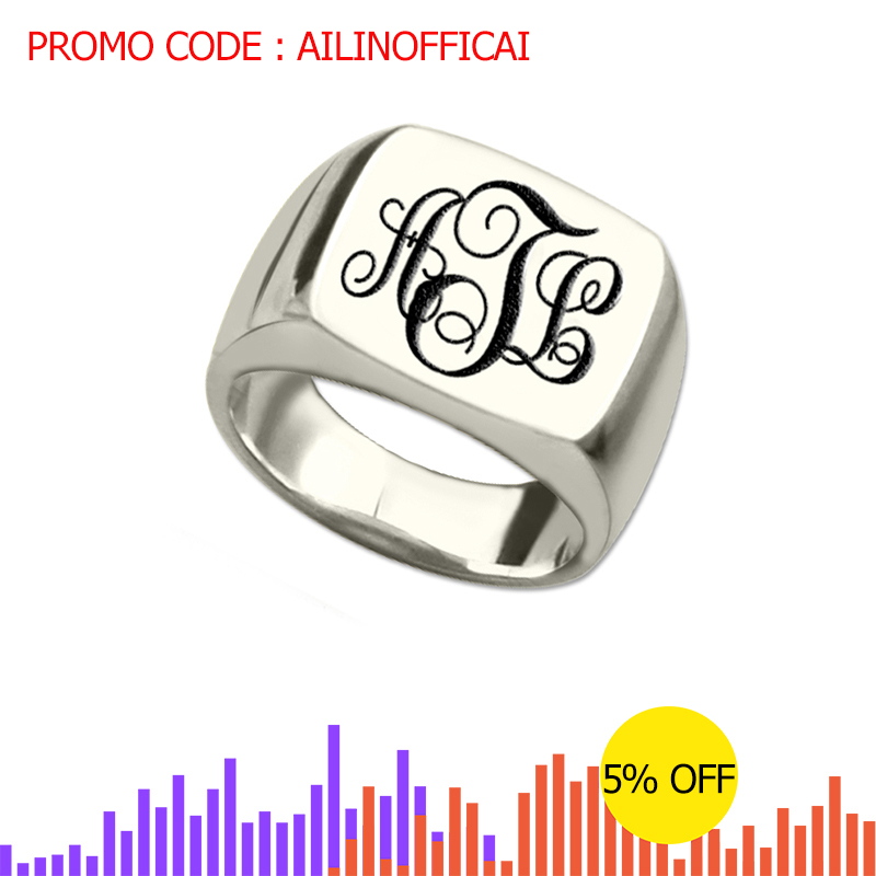Silver Monogram Square Ring Personalized Initials Engraved Name Unique Vine Style Best Gift