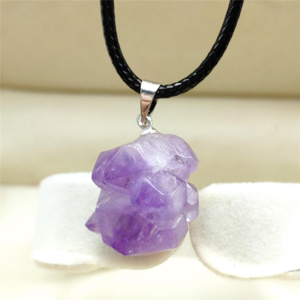 Top Natural Lavender Amethyst Quartz Purple Raw Material Crystal Pendant Fashion 21x16mm Healing Stone Reiki AAAA