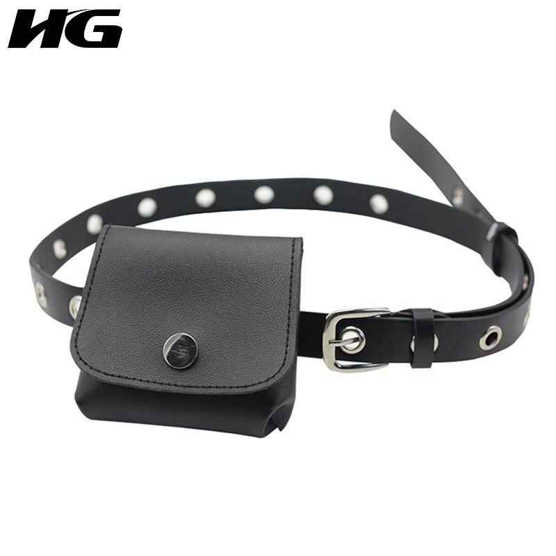 HG Black Waist Pack Slender Belt Women PU Leather Phone Pouch Bags Fashion Simple Joker 2019 New Autumn Waist Bag Lady ZYQ1503