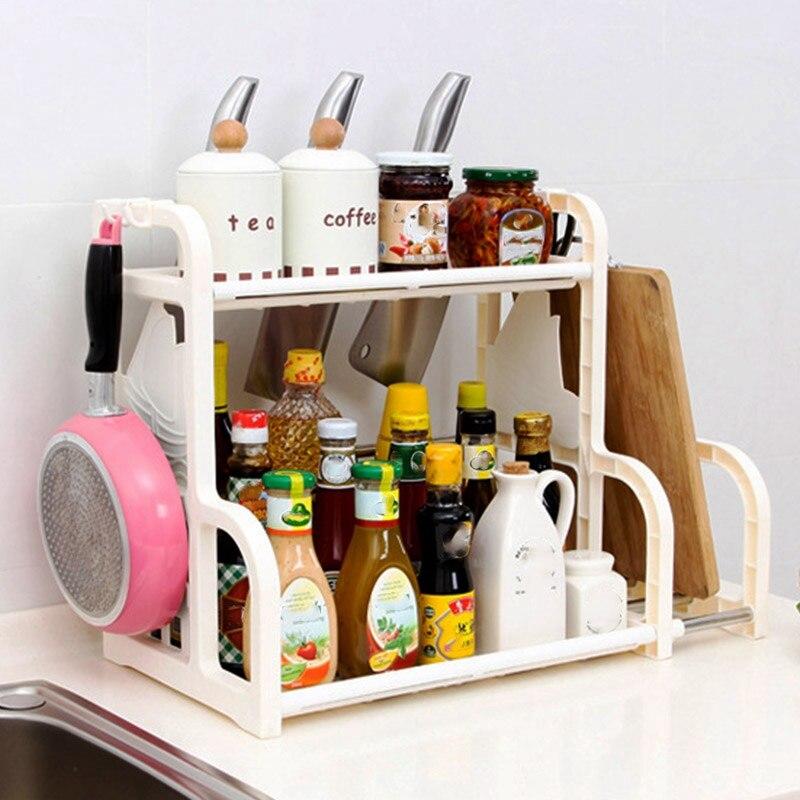 Kitchen Storage Plastic Storage With Knife Cutting Board Seasoning Double Seasoning Multifunctional Countertop Storage Rack