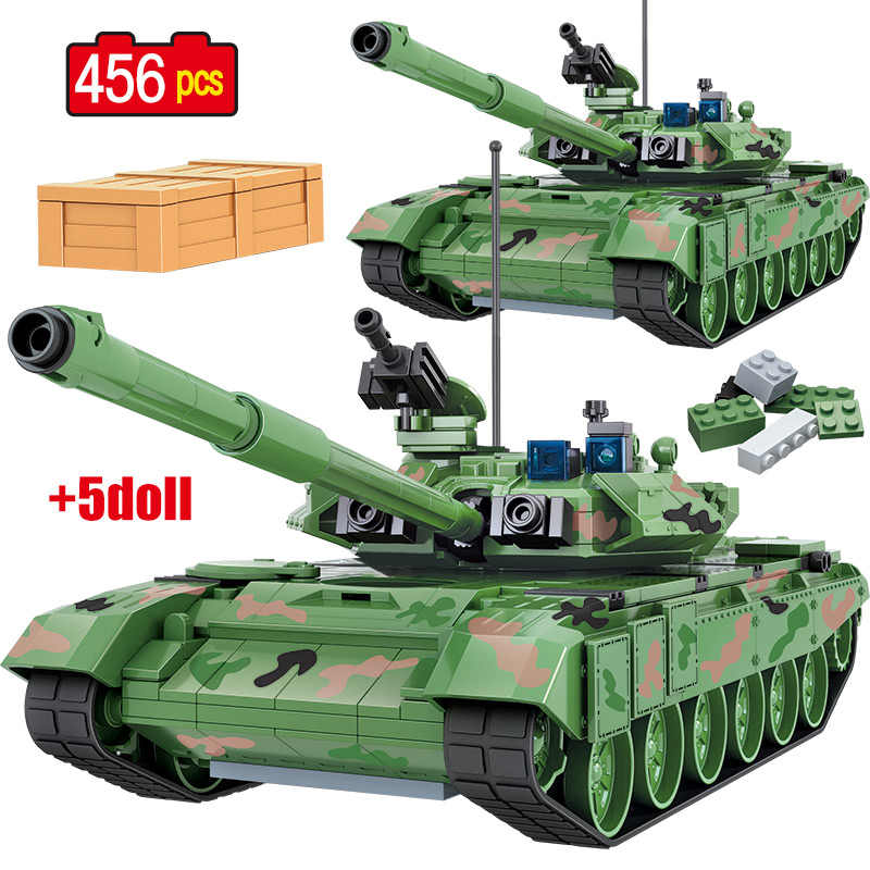 456 PCS Russia T90A Battle Tank Building Blocks Legoingly Military Tank City WW2 Soldier Figures Weapon Bricks Toys for Boys