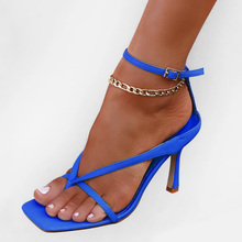Women Sandals Shoes Woman High Heels Pumps Flip Flops High Heels Ankle Strap Summer 2020 Sexy Sandals Square Toe Fashion Shoes new sexy blue suede sandals women cool rhinestone jeweled high heels shoes summer cut outs ankle strap party shoes pumps jawakye