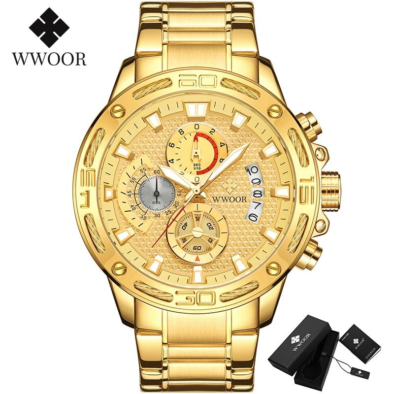 WWOOR 2020 New Men Watches Top Brand Luxury Gold Stainless Steel Quartz Watch Men Waterproof Sport Chronograph Relogio Masculino 5