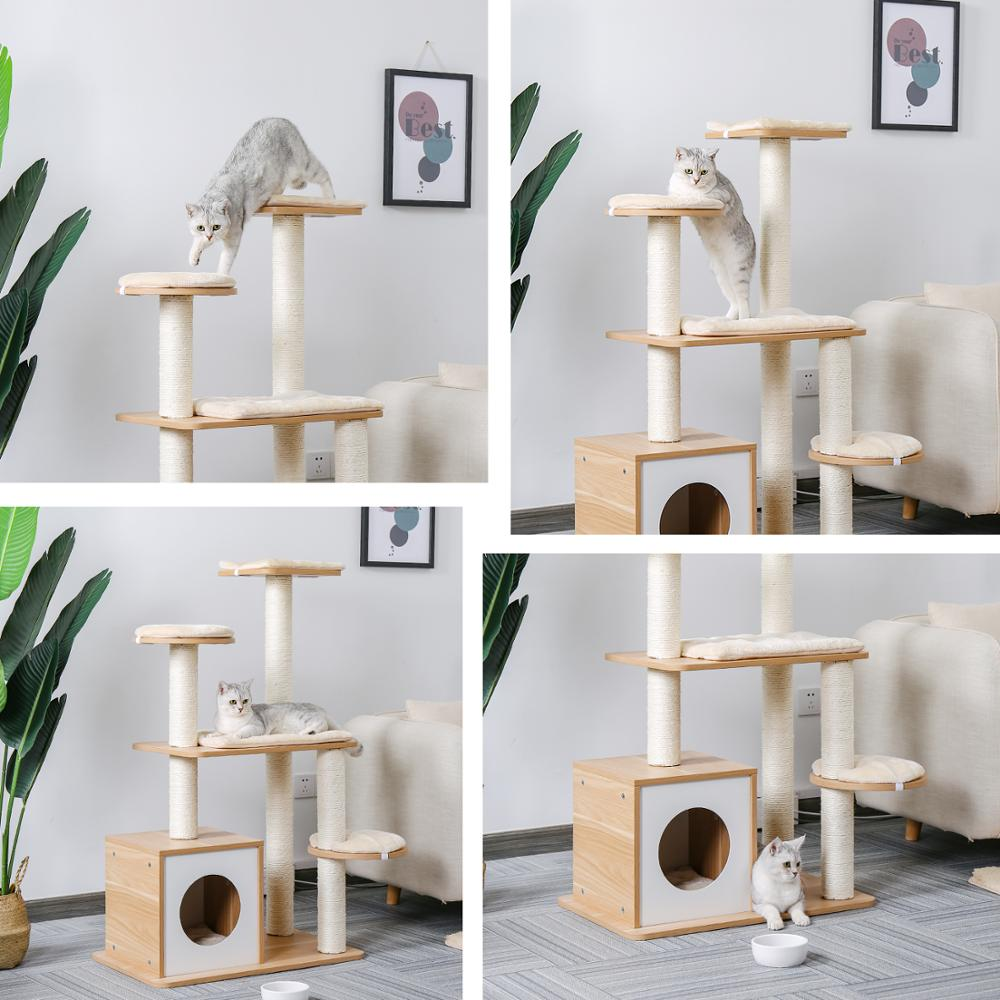 Fast Shipping <font><b>Pet</b></font> <font><b>Cat</b></font> <font><b>Tree</b></font> <font><b>Tower</b></font> Toy Scratching Posts for <font><b>Cat</b></font> Wood Climbing <font><b>Tree</b></font> Jumping <font><b>Cat</b></font> Furniture <font><b>Cat</b></font> House Condo Nest image