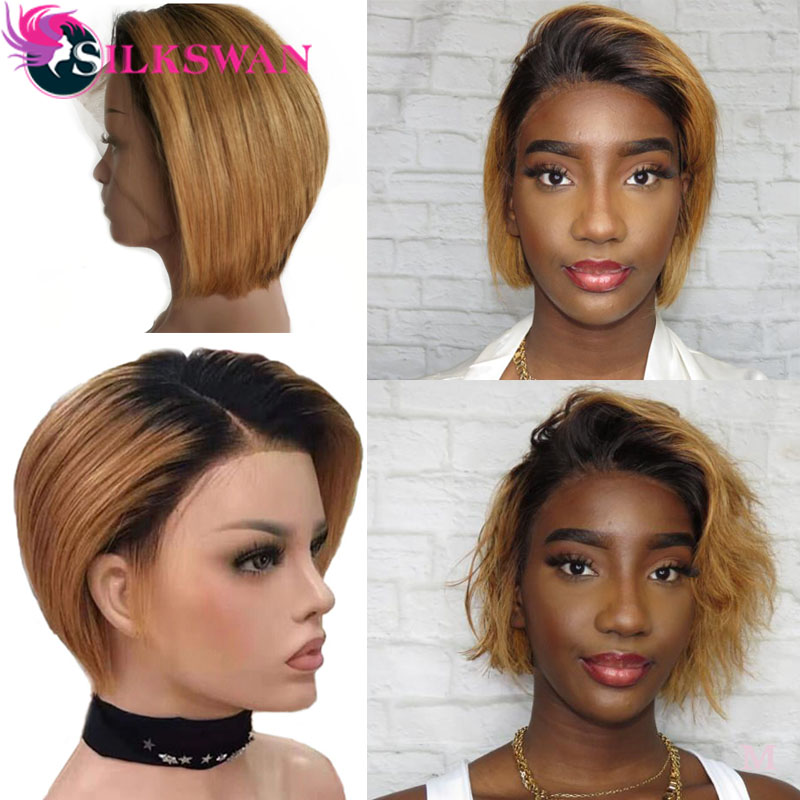 Silkswan Short Pixie Cut Wigs Brazilian Human Hair Wigs 13*4 Lace Front Wigs 1b/27 Pixie Wig Human Hair For Women Remy Hair